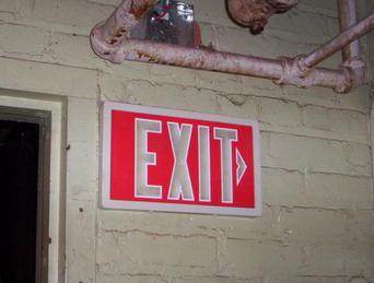radioactive exit sign