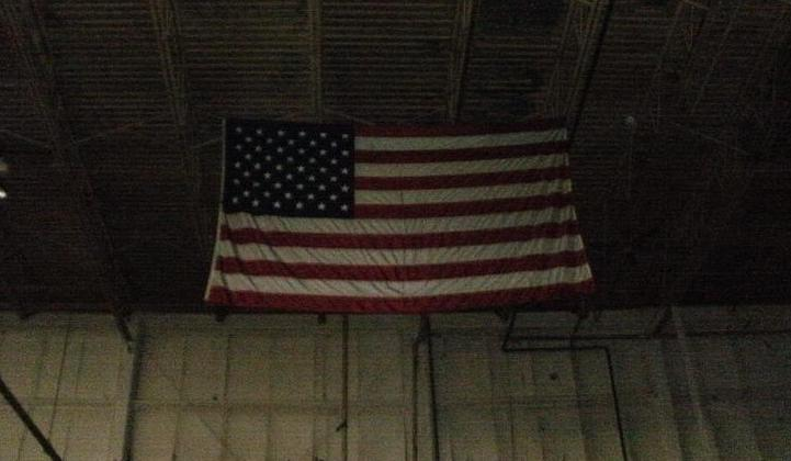 American flag left in abandoned building