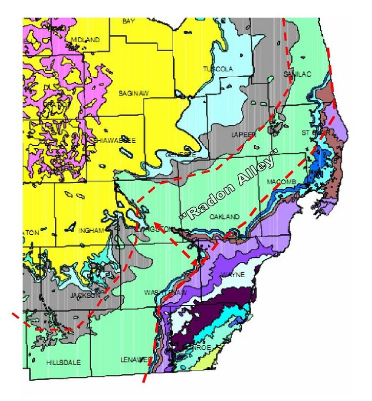 radon geology map